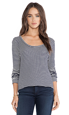 Whetherly Rosewood Top in Navy Blue & Creme Stripe