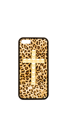 Wildflower Leopard Iphone 5/5S Case in Gold Studded Cross