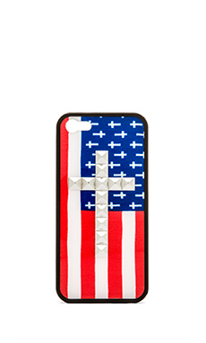 Wildflower American Flag Iphone 5/5S Case in Silver Studded Cross