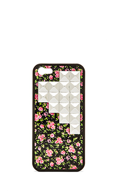Wildflower Rose Buddies Iphone 5/5S Case in Silver Studded Pyramid