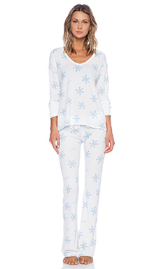 Wildfox Couture Polar PJ Set in Snowflake Print