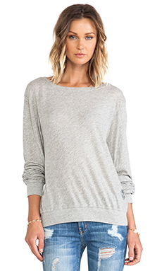 Wildfox Couture Varsity Basic Tissue Jersey Baggy Beach Jumper in Heather Grey