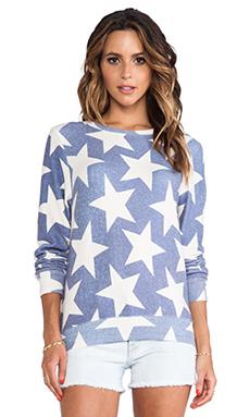 Wildfox Couture Denim Stars Baggy Beach Jumper in Blue Multi