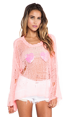 Wildfox Couture Heart Bra Lost Sweater in Neon Sign