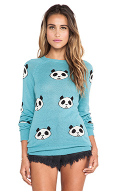 Wildfox Couture Panda Head Party Sweater in Bento Blue