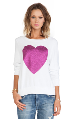 Wildfox Couture x REVOLVE Sparkle Heart Sweater in Clean White