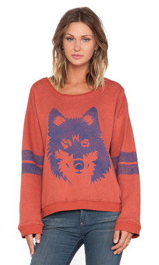 Wildfox Couture Vintage Wolf Pullover in Fox Fur