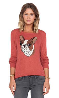 Wildfox Couture Bulldog Pullover in Fox Fur