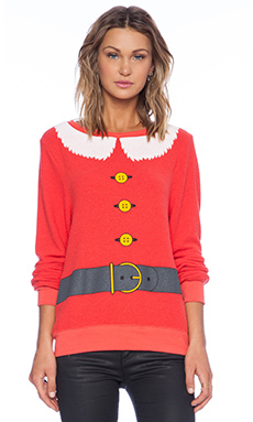 Wildfox Couture Santa and Elf Sweater in Hot Lipstick Poly