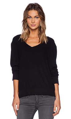 Wildfox Couture Baggy Beach V-Neck Top in Jet Black