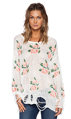 Wildfox Couture Prairie Rose Sweater in Clean White