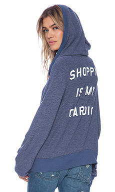 Wildfox Couture Shopping is My Cardio Hoodie in Uniform Navy