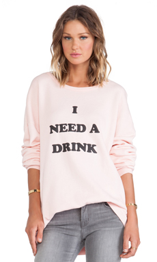 Wildfox Couture Need A Drink Long Sleeve in Rose Bud