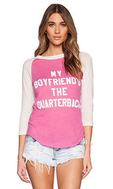 Wildfox Couture My Boyfriend's The Quarterback Graphic Tee in Pink Corvette & Vintage Lace