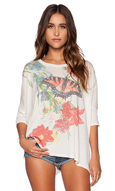 Wildfox Couture Floral Butterfly Tee in Multi Colored