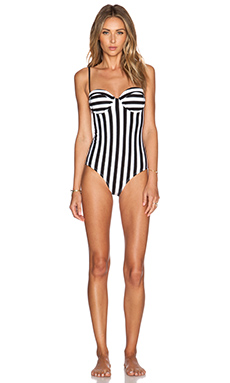 Wildfox Couture Dreamhouse Stripe Swimsuit in Clean Black