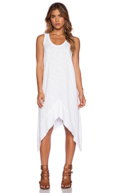Wilt Slub Jersey Cross Rib Tank Dress in Standard White