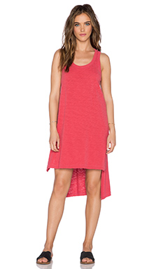 Wilt Slub Jersey Uneven Tank Dress in Distressed Tomato