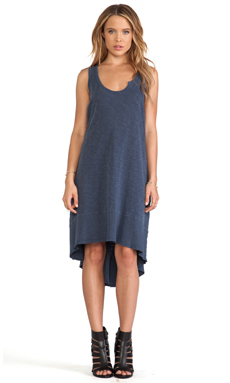 Wilt Slub Baby Hi Lo Dress in Vintage Blueberry