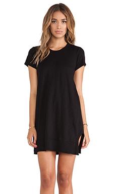 Wilt Slub Short Sleeve Vented Dress in Black