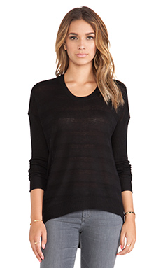 Wilt Textured Stripe Backslant Sweater in Black