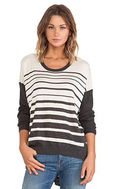 Wilt Tissue Stripe Backslant Sweater in Charcoal & Cloud