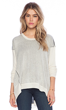 Wilt Silk Cashmere Sweater Textured Big Backslant With Rib Sleeve in Cloud