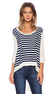 CASHMERE MIX SWEATER IN STRIPE BABY V-BACK