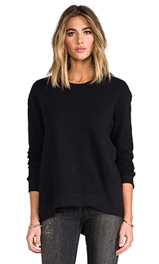 Wilt Vintage French Terry Back Slant Sweatshirt in Black
