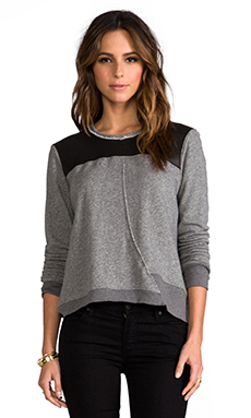 Wilt Crop Raw Twist Leather Mix Sweatshirt in Charcoal/Black