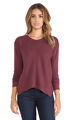 Wilt French Terry Mixed Slouchy Sweatshirt in Vino