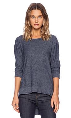 Wilt Heather Jersey Big V Back Sweatshirt in Blue Night