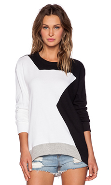Wilt French Terry Abstract Shrunken Sweatshirt in White & Black