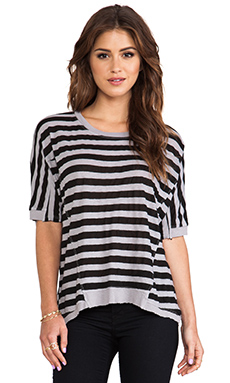 Wilt Cotton Rugby Panelled Big Tee in Pewter & Black