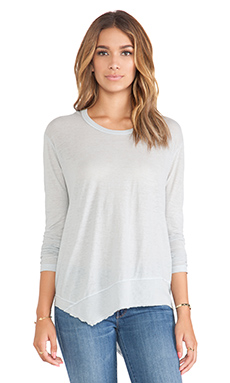 Wilt Tissue Jersey Slanted Long Sleeve Top in Titanium