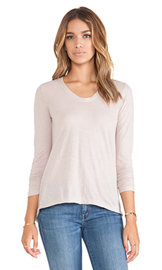 Wilt Tissue Jersey Raw Easy Long Sleeve Top in Antique Rose