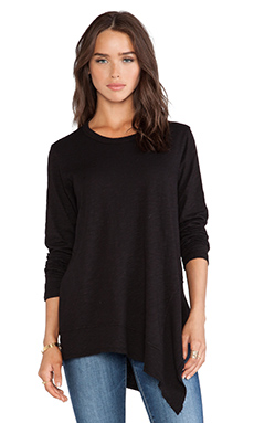 Wilt Slub Jersey Long Sleeve Mixed Tunic in Black