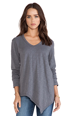 Wilt Slub Long Sleeve Slanted Tee in Slate