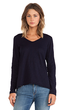 Wilt Slub Jersey Long Sleeve Shrunken Boyfriend Tee in Blue Night