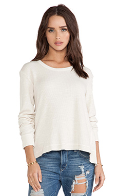 Wilt Thermal Baby Back Slant Mixed Long Sleeve Top in Cloud