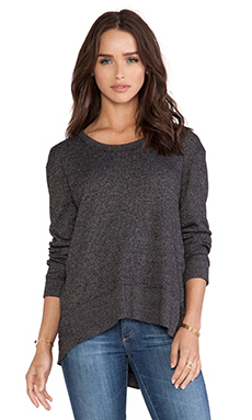 Wilt Thermal Mixed Slouchy Hi-Lo Long Sleeve Top in Black