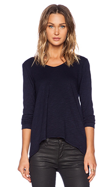 Wilt Slub Basic Shrunken Boyfriend Long Sleeve in Blue Night