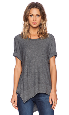 Wilt Heather Jersey Slanted Mixed Dolman in Ash