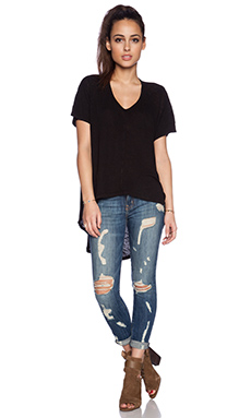 Wilt Short Sleeve Slouchy Hi-Lo in Black