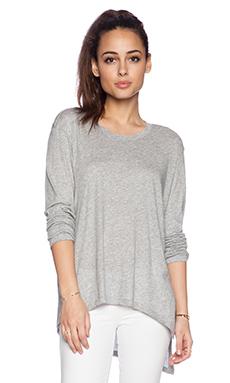 Wilt Raw Slouch Twist Long Sleeve in Grey Heather