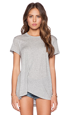 Wilt Cotton Modal Jersey Twisted Pleat Slouchy Tee in Grey Heather