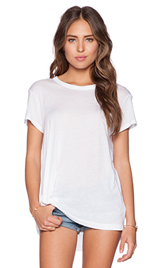 Wilt Cotton Modal Jersey Twisted Pleat Slouchy Tee in White