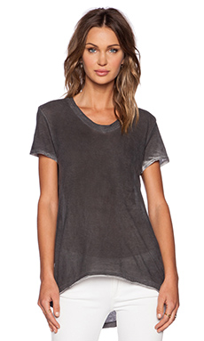 Wilt Short Sleeve Cotton Jersey Raw Easy Tee in Sprayed Black