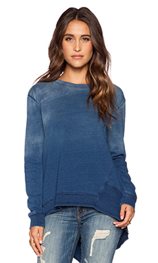 Wilt Distressed Big Back Slant Tee in Indigo