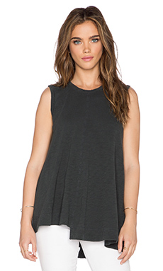 Wilt Slub Jersey Shifted Trapeze Tank in Distressed Black